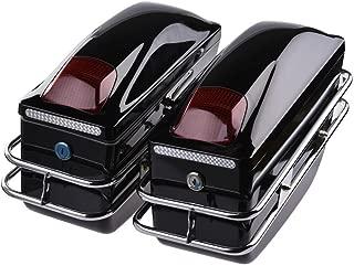 ACUMSTE Motorcycle Trunk, 2Pcs Tail Box Tour Pack SaddleBags Luggage Case w/Lights Mounted for Harley Honda Yamaha Suzuki Cruiser