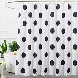 Aimjerry Polka Dot Washable Fabric Shower Curtain Black and White,72 X 72in