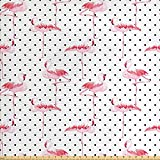 Elvoes Retro Fabric by The Yard, Flamingo Birds on