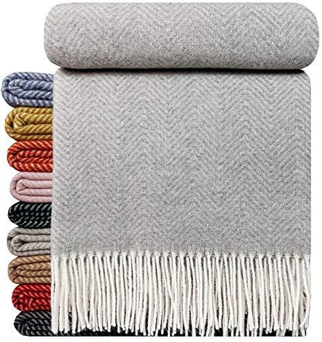 STTS International Wohndecke Wolldecke Decke sehr weiches Plaid Kuscheldecke 140 x 200 cm Wolle Milano Hellgrau (1)