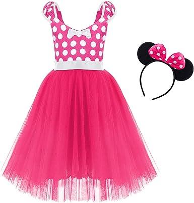 IBTOM CASTLE Girls' Polka Dots Princess Party Cosplay Pageant Fancy Costume Tutu Birthday Dress up+Ears Headband