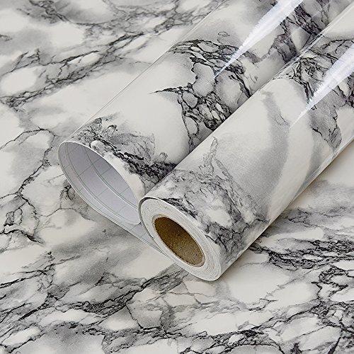 Autoadhesivo negro blanco mármol de vinilo papel de contacto para encimera de cocina gabinetes Backsplash pared manualidades proyectos 60 x 300cm