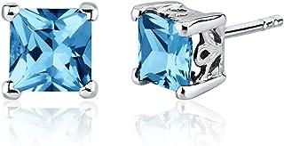 Peora Swiss Blue Topaz Princess Cut Stud Earrings Sterling Silver 2.50 Carats