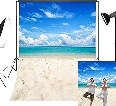 LB Tropical Beach Backdrop Blue Sea Sky Photo Backdrop 5x7ft Vinyl Hawaiian Luau Party Background Wedding Birthday Party Portraits Photo Booth Backdrop