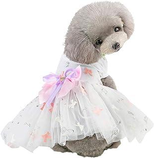 LAIHUI - Vestido de Fiesta con tutú para Perro, Gato y moño, con Estampado de Lazo, sin Mangas, Transpirable, para Primavera, Verano, para Mascotas, tamaño Grande, Mediano y pequeño, Rosado, Large