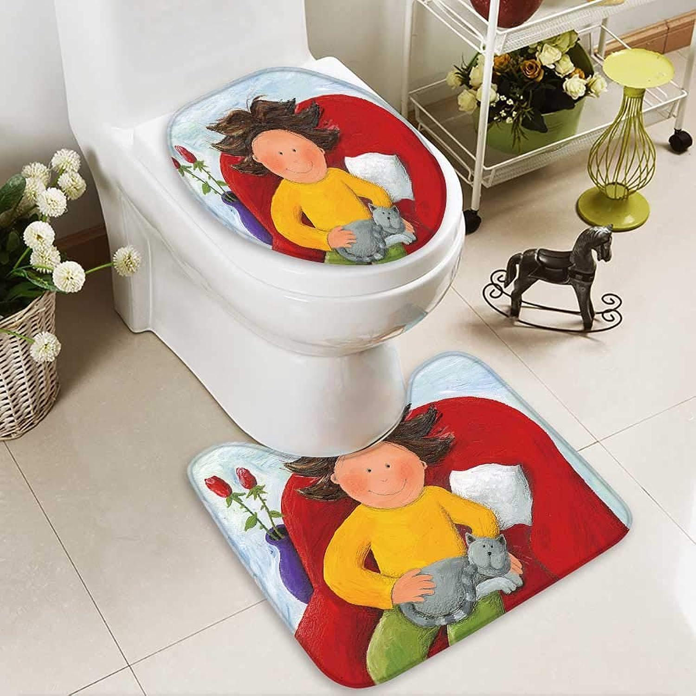 Aolankaili Cushion Non-Slip Toilet with cat Soft Non-Slip
