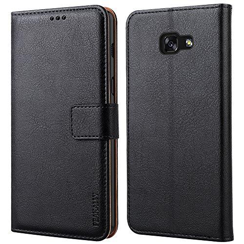 Peakally Handyhülle für Samsung Galaxy A5 2017 Hülle, Premium Leder Flip Hülle Tasche Schutzhülle Brieftasche Klapphülle [Kartenfächer] [Standfunktion] [Magnet] für Galaxy A5 2017-Schwarz