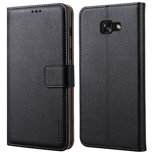 Peakally Funda Samsung Galaxy A5 2017, Premium Cuero Fundas para Samsung Galaxy A5 2017 [Stand Function] [Ranuras para Tarjetas] Piel PU Carcasa Case con Concha Interna Suave 5.2'-Negro