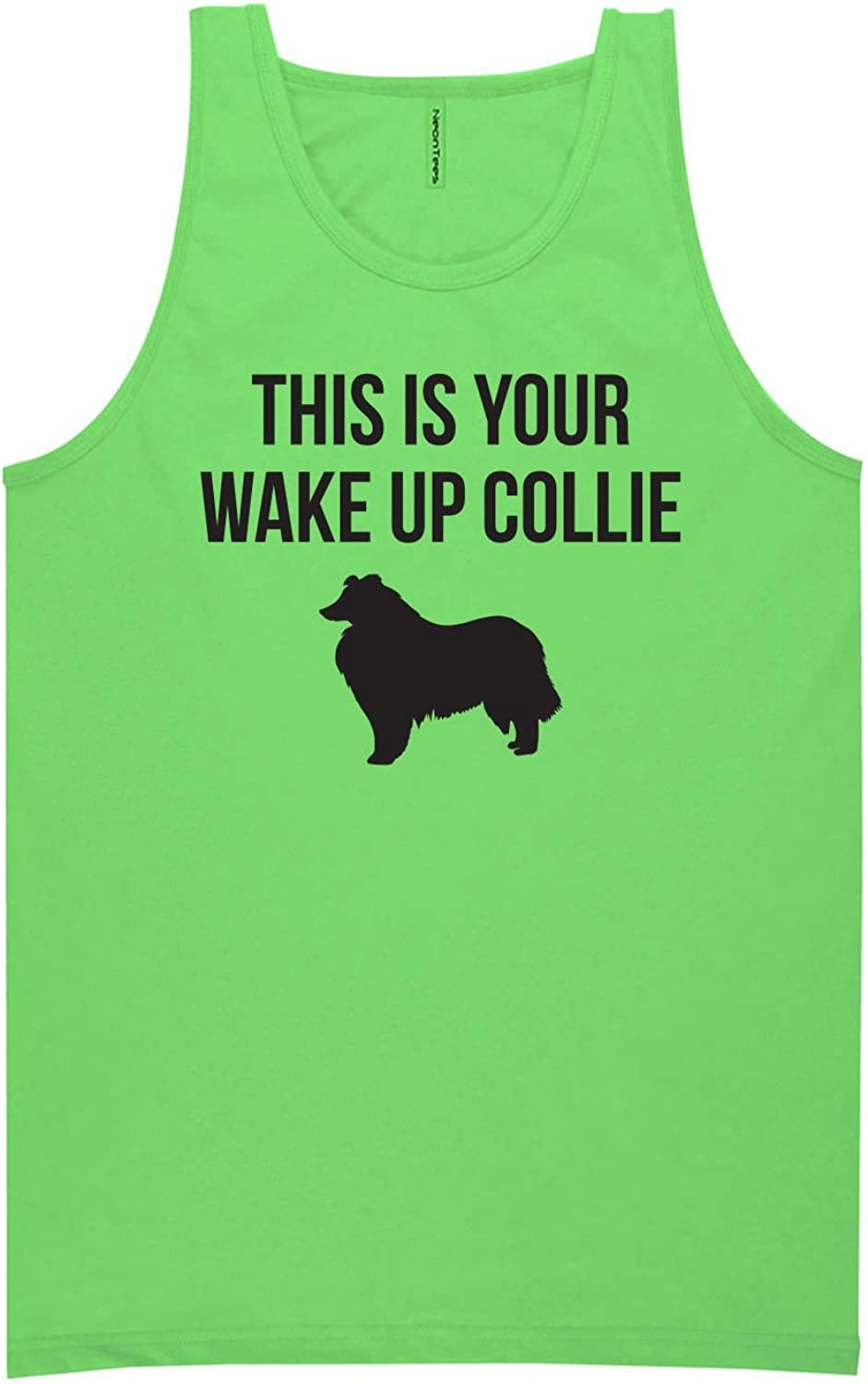 zerogravitee This is Your Wake Up Collie Neon Green Tank Top - XX-Large