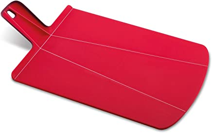 Joseph Joseph 60042 Chop2Pot Foldable Plastic Cutting Board 19-inch x 10.75-inch Chopping Board Kitchen Prep Mat with Non-Slip Feet 4-inch Handle Dishwasher Safe Lays Flat Folds Up, Large, Red