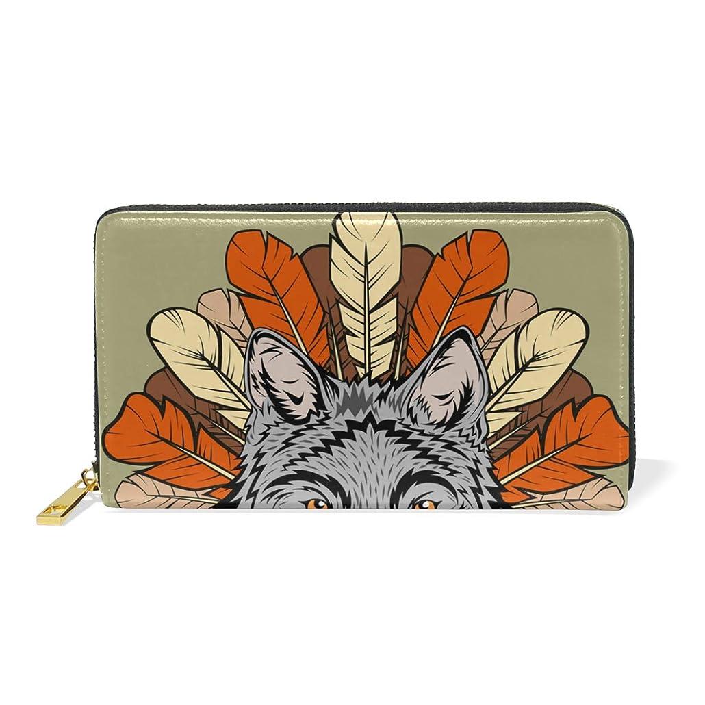 不注意バット識別AyuStyle 財布 長財布 レディース メンズ 人気 オシャレ 個性的 おおかみ オオカミ 狼 ウルフ レザー 大容量 多機能 ラウンドファスナー プレゼント