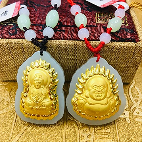 YYSD Pendentif Bouddha Rieur Guanyin en Or 24 carats incrust