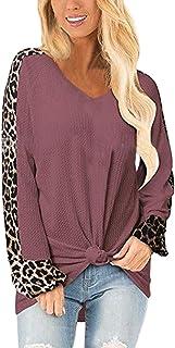 Viottiset Camiseta De Manga Larga para Mujer Gofre Leopardo Jumper Tops Blusa Camisas