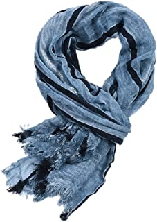 Yateen Mens Cotton Scarves Stripe Crinkle Long Scarf