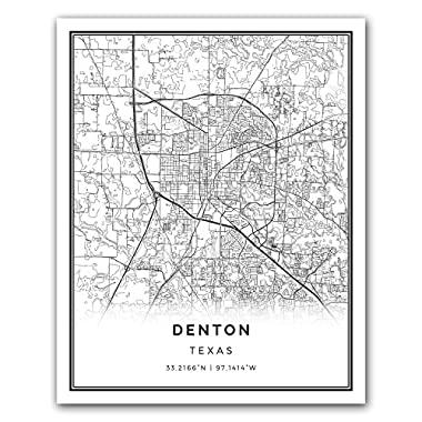 Squareious Denton map poster print | Modern black and white wall art | Scandinavian home decor | Texas City prints artwork | Fine art posters 16x20