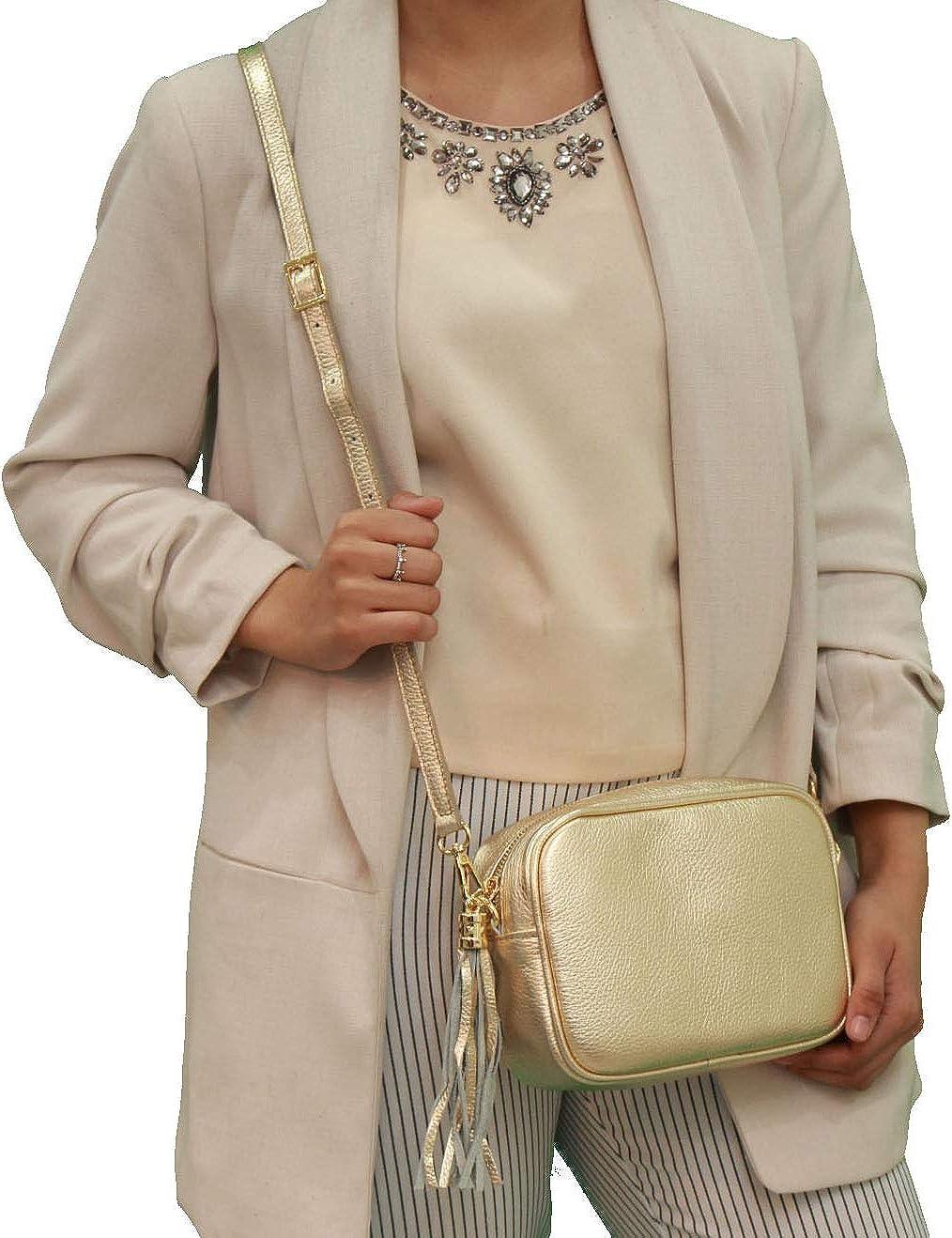 A to Z Leather Sac compact à bandoulière en cuir souple grainé pour femme doté d'un zip pompon à franges Doré
