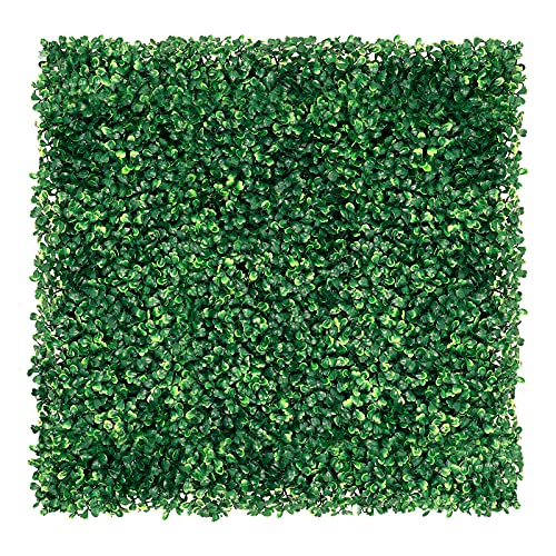 12 Pieces 20 x 20 inch Artificial Boxwood Hedge Grass Wall Panel Privacy Screen UV Protected Outdoor...