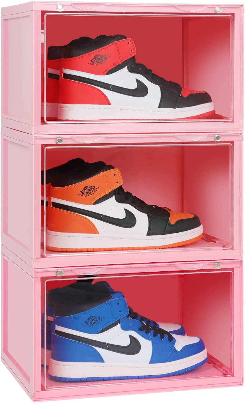ELUCHANG Stackable Shoe Organizer Dealing full wholesale price reduction Storage Clear 3 Pack Plas