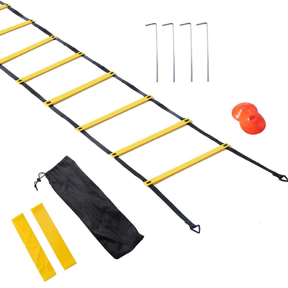 Ladding - Juego de escalera de agilidad de 20 pies con 12 peldaños, 12 conos de disco