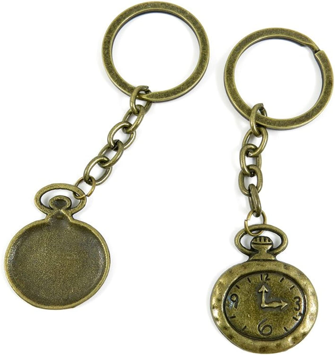 100 PCS Keyrings Keychains Key Ring Chains Tags Jewelry Findings Clasps Buckles Supplies S2MB9 Pocket Watch