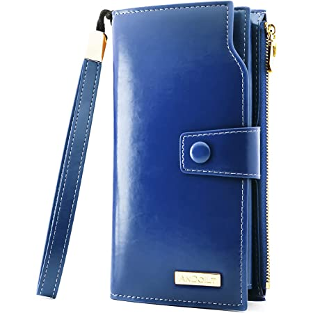 ANDOILT Cartera de Mujer Gran Capacidad Billetera de Cuero Genuino Monedero RFID Bloqueo Tarjetero Azul