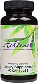 Avlimil� Hormone Balance & Menopause   Relief from Mood Swings, Hot Flashes, Night Sweats and Irritability - Isoflavones, Black Cohosh, Raspberry, Valerian, Sage, Red Clover, Lemon Balm - 1-Month