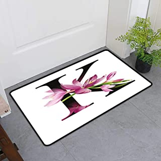 TableCovers&Home Universal Door Mat, Letter K Non-Slip Doormats for Bedroom, Blooming Kaffir Lily with Vibrant Green Stalk K Sign Nature Flower Art Print (Pink Green Black, H36 x W60)