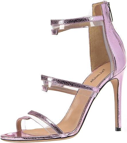 SYYAN Femmes PVC Open Toe Zipper Manuel Pompe Robe Sandales, violet, 45
