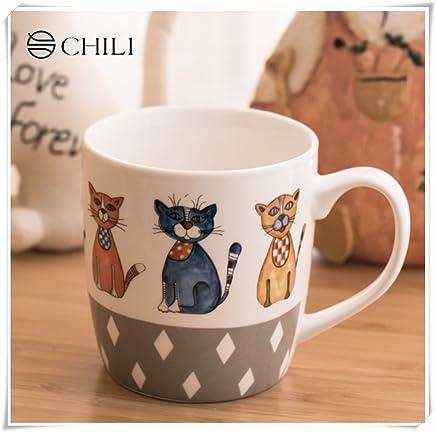46944f7448e Creative Cartoon Cat Ceramic Mug Breakfast Mug Coffee Mug office Mug  Lover's Mug 11oz(5