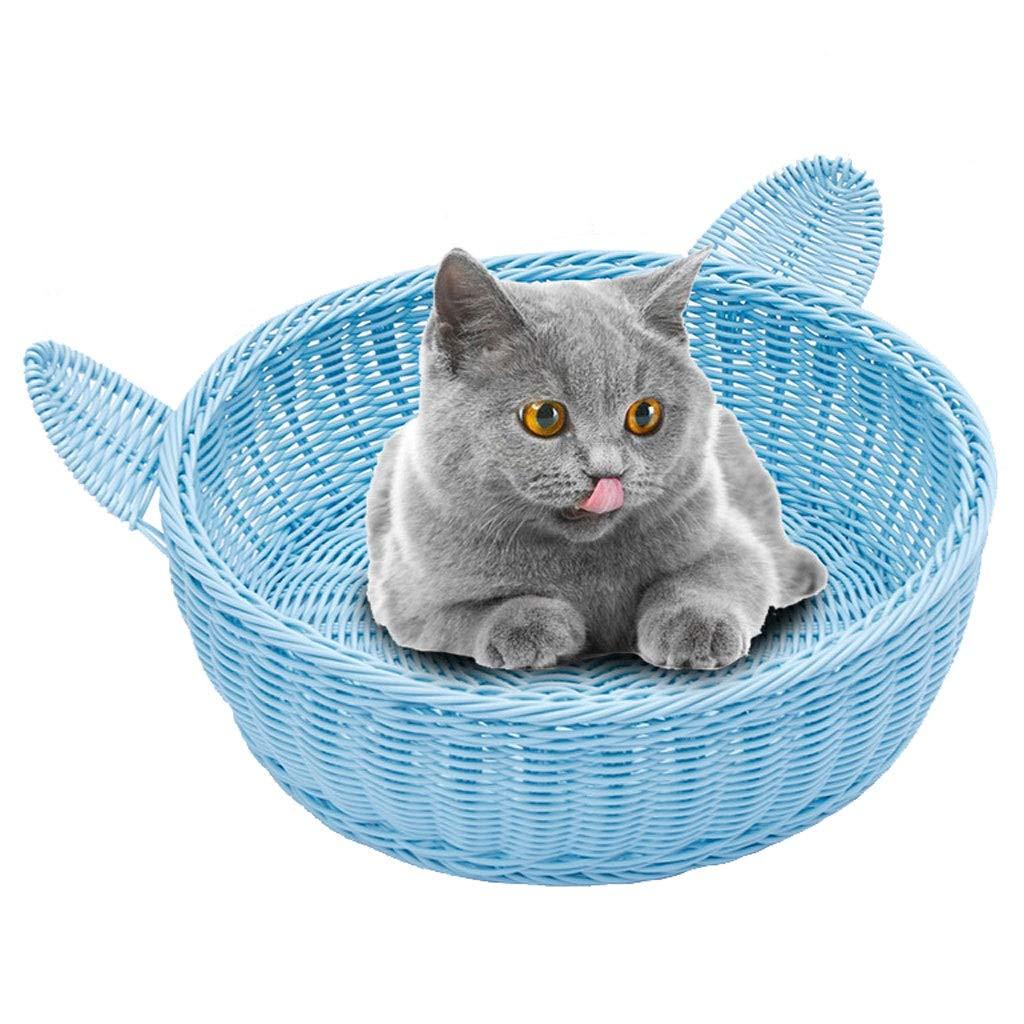 Mascota Cama Cesta, Mascotas Tejido Cesta Cama por Gatos Y Perros Portador Casa (Hecho A Mano Ít) (Color : A, Size : S42*42 * 13CM): Amazon.es: Productos para mascotas