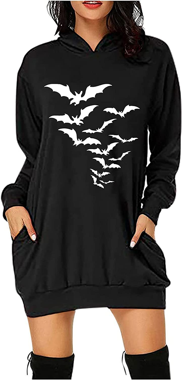 Womens Halloween Hooded Dresses with Pockets Halloween Printed Midi Length Pullover Dress Tops Sweatshirt
