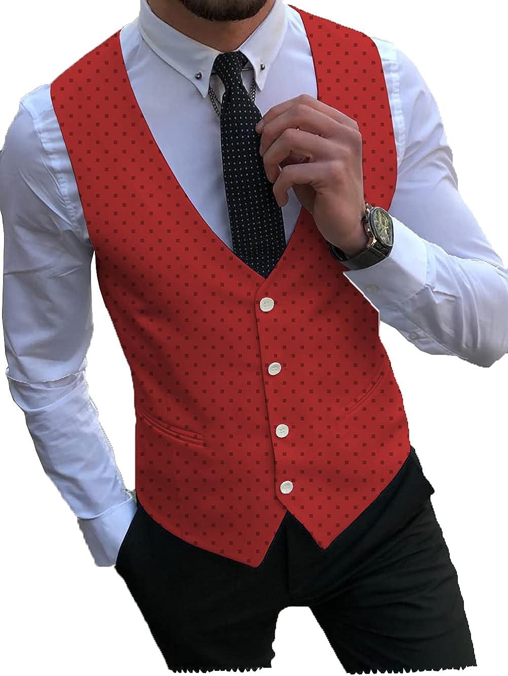 Men's Suit Vest Slim Fit Dots Formal Dress Waistcoat Tan for Tuxedo