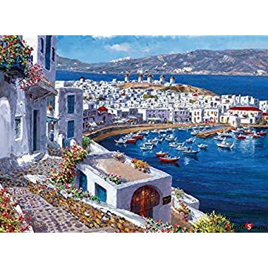 [ Impuzzle ]  Mykonos, the wind of the blue sea  | 1000 Piece Jigsaw Puzzle for Adults, Teens and Family