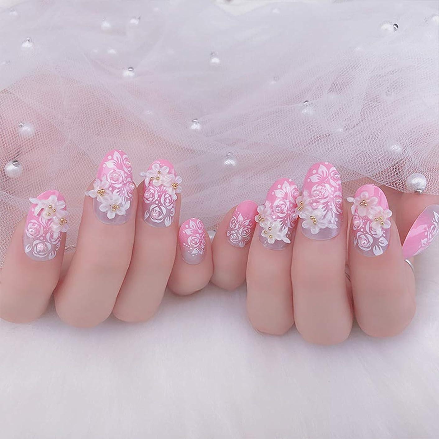 信者ジャンプ選挙XUTXZKA ピンクカラー人工ネイル花嫁の結婚式輝くラインストーン偽ネイル花フルカバーネイルのヒント24ピース/セット