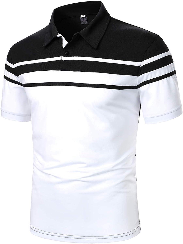 LEIYAN Mens Stylish 1/4 Button Polo Shirts Summer Short Sleeve Sports Color Block Slim Fitness Tee Tops