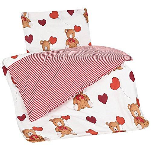 Aminata Kids Parure de lit pour enfant 100 x 135 cm 40 x 60 cm Motif ourson avec cœur Rouge/blanc