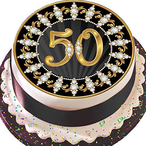 vorgeschnittenen essbare Deko-silikonformkuchendekoration, 19,1cm Runder Tortenaufsatz, schwarz und gold 50. Geburtstag Z10
