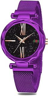 SUNKTA Women's Watch,Gold Women Analog Quartz Wristwatch with Starry Sky dial Watch Waterproof Casual Simple Dress Watches for Girls Ladies