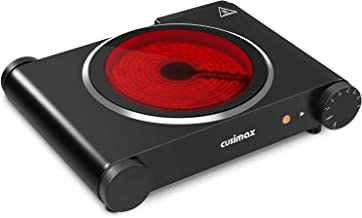 CUSIMAX Single Burner 1200W - Portable Electric Cooktop - Infrared Electric Burner - Black Ceramic Hot Plate - Stainless Steel - CMIP-B120