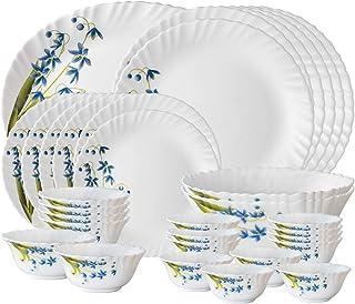 Larah By Borosil Lavender Opalware Dinner Set, 33-Pieces, White
