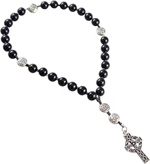 Kit Johnson Designs Anglican Rosary Beads, Onyx, Celtic Cross, Prayer Bag, Instruction Booklet