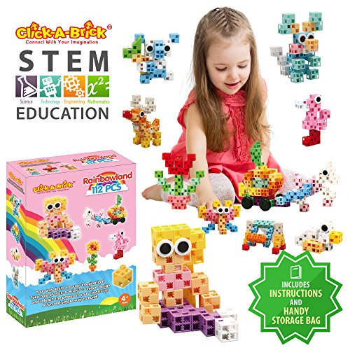 Click-A-Brick Rainbowland 112pc Building Blocks Set | Best STEM Toys for Boys & Girls Age 4 5 6 7 Year Old | Fun Kids 3D Construction Puzzle | Top Educational Learning Gift for Children Ages 4-10