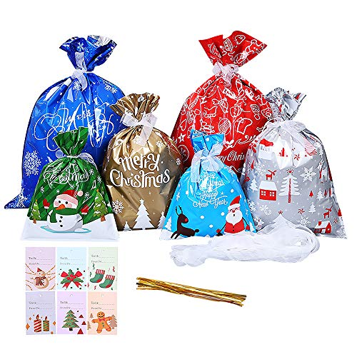 30 Pack Christmas Bags, Large Xmas Gift Bags, 6 Colors and Sizes, Christmas Wrapping Goody Bags with Ribbon Ties and 30 Pieces Present Tags Label for Birthday Christmas Party