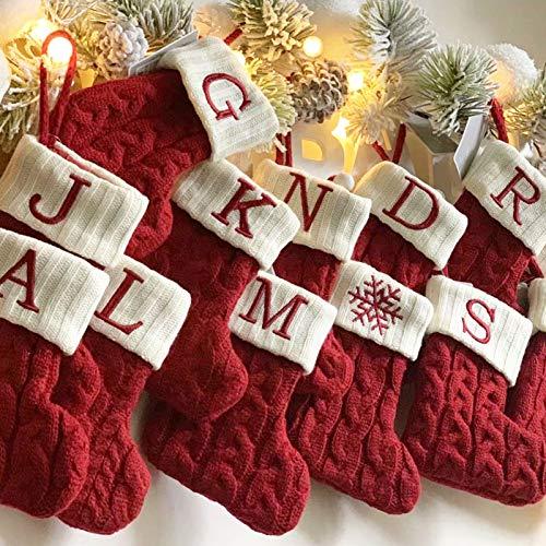 aniceday Weihnachtsstrumpf Gestrickte Weihnachtsstrümpfe Weihnachtsschmuck Tasche Hängende Strümpfe Für Familienfeiertagsfeierdekorationen - mit verschiedenen Buchstaben