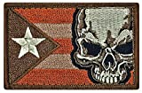 """Puerto Rico Flag Skull Embroidered Patch [3.0 X 2.0 -""""Velcro Brand"""" Fastener -PRY1]"""