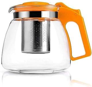 Heat-Resistant Glass Teapot Filter Tea Red Tea Kettle Tea Pot Teapot Office Bubble Tea 900Ml Tea Cup,Orange