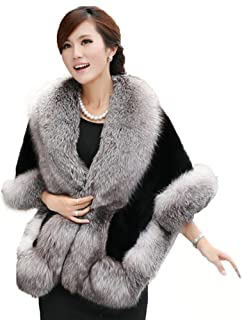 Women's Faux Fur Coat Wedding Cloak Cape Shawl for Evening Party