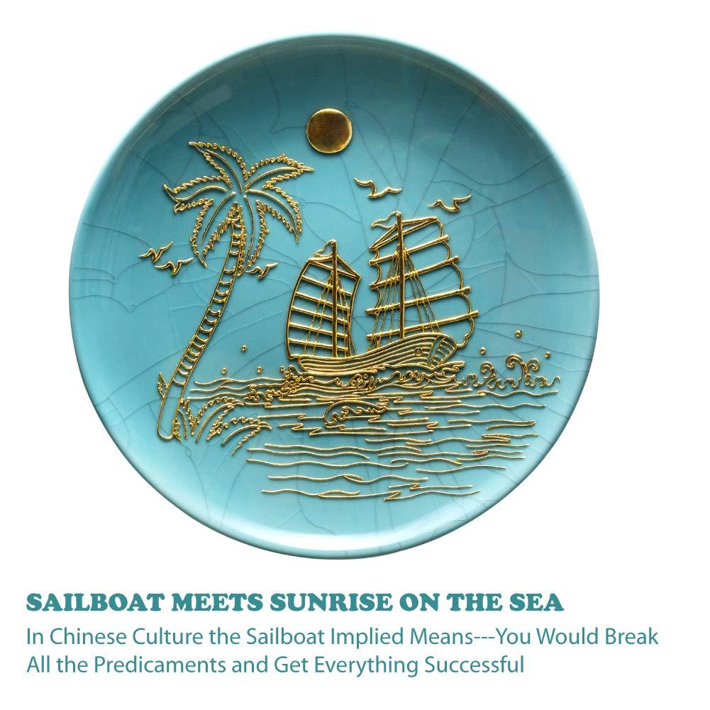 SAIREIDER Wall Art D/écor Framed Hanging Artworks Decoration Traditional Chinese Handicrafts Home D/écor 15.75x15.75 Inch Sunrise Sailing