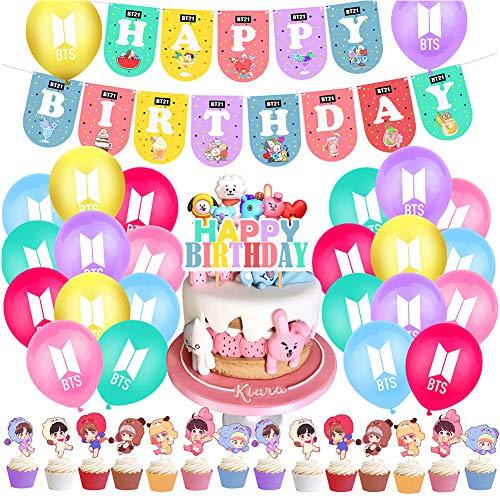 BTS Birthday Party Supplies 40PCS BTS Conjunto de Decoración de cumpleaños BTS Cupcake Toppers Banner Globos Happy Birthday Cake Topper Decoraciones de Fiesta cumpleaños