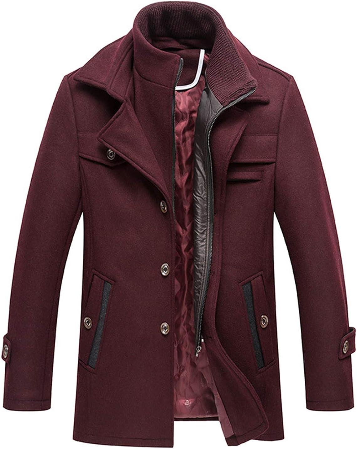 Yimoon Men's Wool Blend Overcoat Slim Winter Walker Coat with Bib